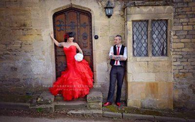 Gatehouse Brides Provide Red Wedding Dress for Amazing Alternative Wedding Photoshoot